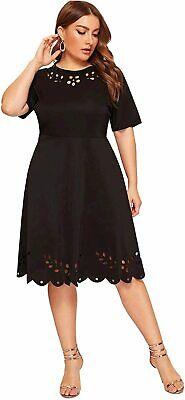 Women s Plus Size Cut Out A Line Swing Stretchy Midi, Black, Size 1.0 8enK - $13.99