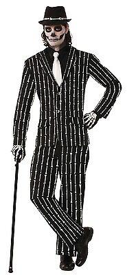 Herren Schwarz Weiß Skelett Nadelstreifen Halloween Kostüm Kleid Outfit Anzug