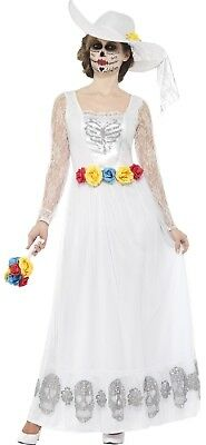 Damen Tag der Toten Skelett Braut Halloween Kostüm UK 8-22 (Tote Braut Kostüm Uk)
