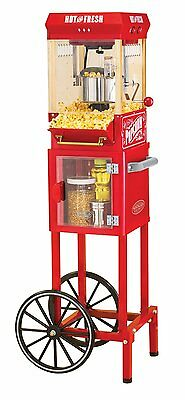 الة صنع الفشار جديد Popcorn Cart Machine Popper Maker Vintage Red Stand Movie Theater Kettle NEW