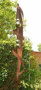 Gartendeko Rostsäulen  Stab mit 4 Edelstahlkugeln Skulptur zwei Meter
