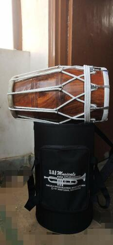 SALE ON SAI Musical brown, Mango Wood, Bolt-tuned, Spanner, Padded Bag, Dholak