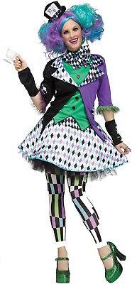 Damen Bunt Leuchtend Verrückter Hutmacher Karneval Buch Film Kostüm Kleid Outfit