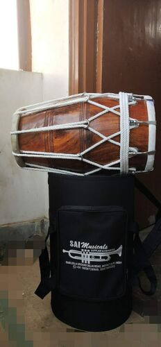 Wooden Musical Dholak Instrument Drum With Carry Bag.