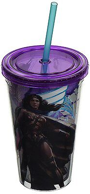 Plastic Cup With Lid And Straw (Wonder Woman Plastic Cold Cup with Lid and Straw, 16-Oz - Dawn of Justice)