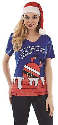 Damen Lustig Santa Baby Come Down My Kamin Tonight Weihnachten T-Shirt Top (Lustige Santa Kostüme)