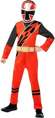 Boys Red Power Rangers Ninja Steel Halloween Party Fancy Dress Costume Outfit