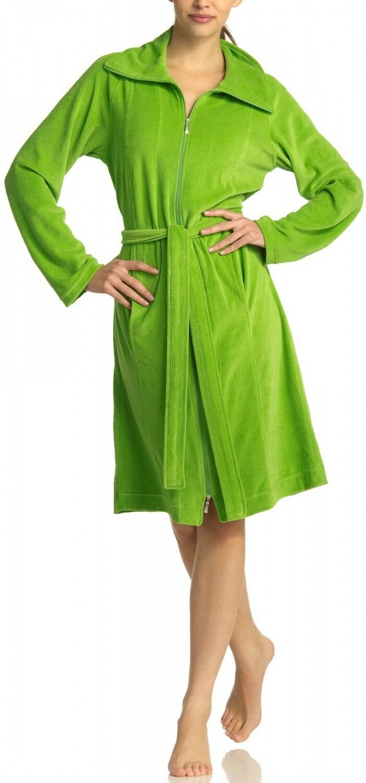VOSSEN Damen Velour figurformende Badejacke Bademantel 2 Wege Reißverschluß grün