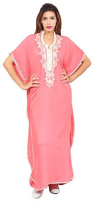 Moroccan Caftan Women kaftan Abaya Beach Cover Summer Long Dress Cotton Pink