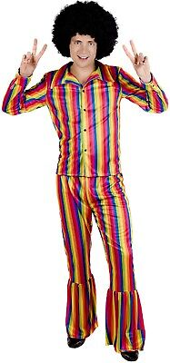 Rainbow Bright Costume Adult (Mens Bright Rainbow Hippie Pride Carnival Fun Fancy Dress Costume Outfit M L)