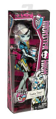 Mattel MONSTER HIGH COFFIN BEAN FRANKIE STEIN Doll in Box Halloween Scary NEW  - Monster High Halloween Doll