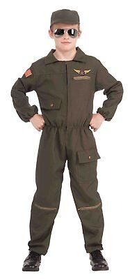 Fighter Jet Pilot Combat Hero Jumpsuit Fancy Dress Up Halloween Child - Jet Fighter Halloween Costume