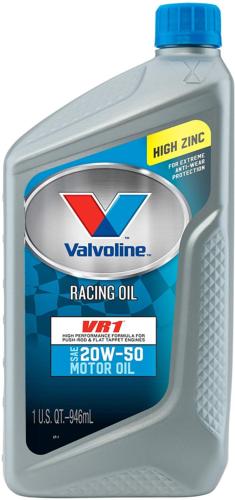 Valvoline VR1 Racing 20W-50 Motor Oil, 1 Quart Pack of 6