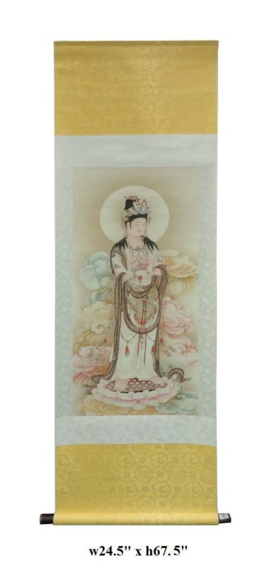 Chinese Hand Painted Lotus Kwan Yin Motif Scroll JZ190
