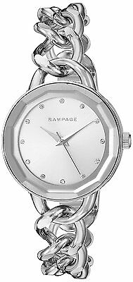 Rampage Women's Silver Dial and Silver Tone Chain Link Bracelet Quartz Watch