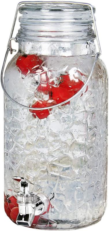 Estilo Glass Mason Jar Drink Beverage Dispenser with Leak Fr