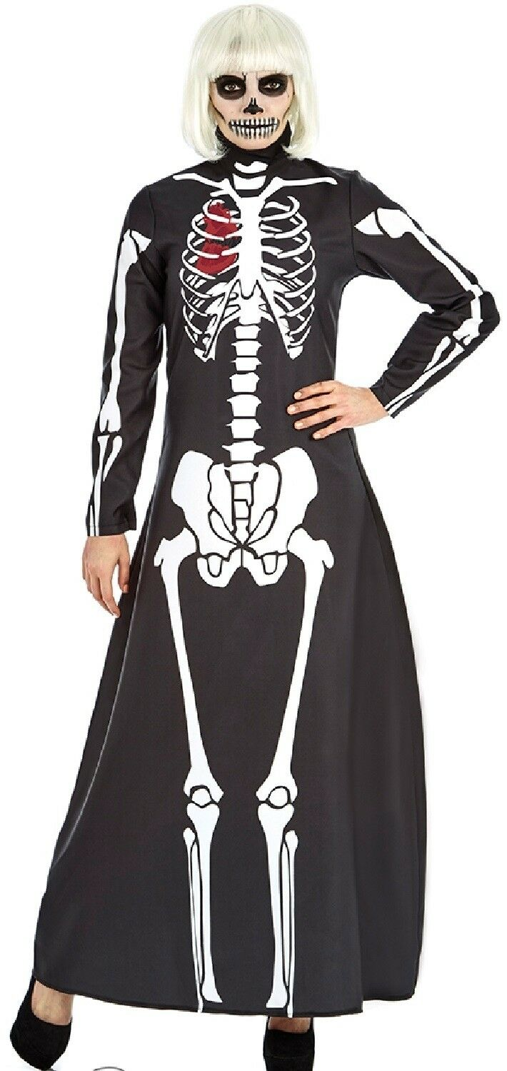 Details about Ladies Long Skeleton Dress Halloween Fancy Dress Costume  Outfit UK8-26 Plus Size