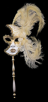 Mask Venice in Stick Feathers Ostrich Yellow-Gold-Carnival venitien-1367 VG7