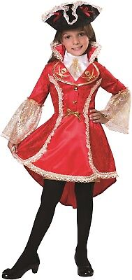 Girls Red Pirate Captain Caribbean Carnival Halloween Fancy Dress Costume Outfit - Caribbean Carnival Halloween Costumes