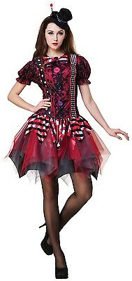 Ladies Horror Clown Bloody Halloween Scary Circus Fancy Dress Costume Outfit
