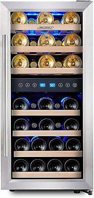 33 Bottle Dual Zone Wine Cooler Refrigerator Compressor Free Standing