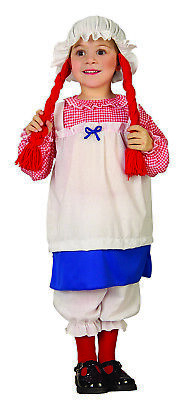 Child Girls Raggedy Ann Rag Doll Dress Pantaloons Hat W/Hair Halloween - Raggedy Doll Halloween
