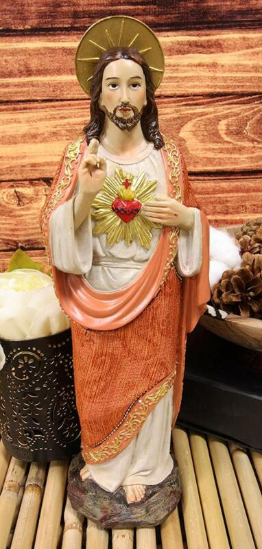 "Ebros Sacred Heart of Jesus Devotional Statue in Linen Fabric Garment 12""H"