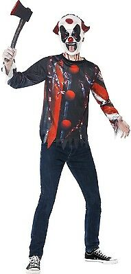 Teen & Older Boys Horror Clown + Mask Halloween Fancy Dress Costume Kit 12yr+ (Older Boy Halloween Costumes)