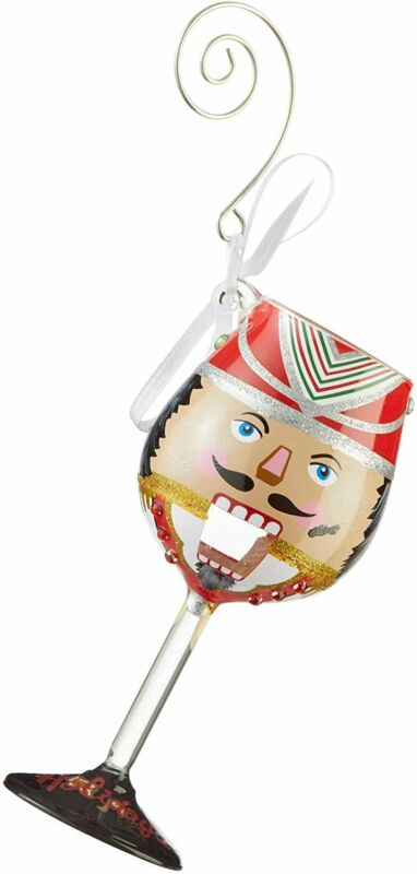 Enesco Designs by Lolita Nuts About The Holidays Miniature Wine Glass Hanging Or