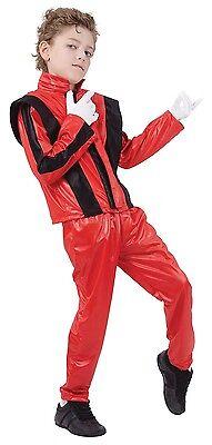 Jungen Roten King Of Pop Prominent Berühmt Person Kostüm Kleid Outfit 4-14 Jahre (Berühmte Personen Kostüme)