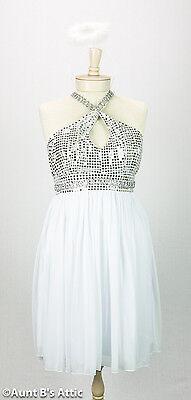 Engel Kostüm Sexy Angelicious 2 Stück Silber & Weiß Kleid mit Nackenband & - Sexy Halo Kostüm