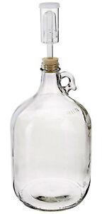 Home Brew Ohio Glass Fermenter Includes Rubber Stopper and Airlock, 1 Gallon