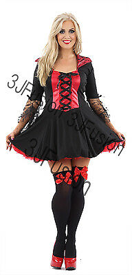 Adult Ladies Vampiress Womens Queen of Darkness Dracula Halloween Fancy Dress EM