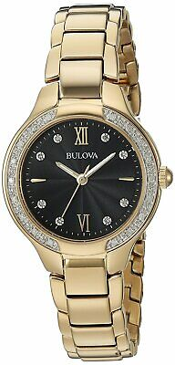 Bulova Women's Quartz Diamond Accent Black Dial Gold-Tone 28mm Watch 98R222