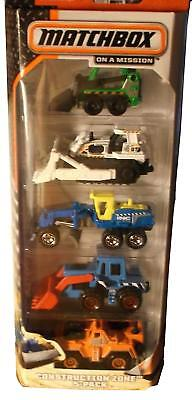 Matchbox On A Mission-Construction Zone-5 Pack Toy Car Set  - Construction Toy Set
