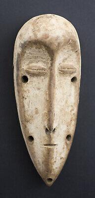 Miniature Mask Pasport African Lega DRC Wooden 17cm Art Primitive 16664