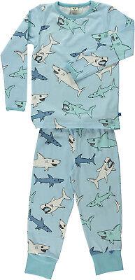 SMAFOLK Schlafanzug Pyjama hellblau Hai shark 92 98 104 110 116 122 128 134 140  ()