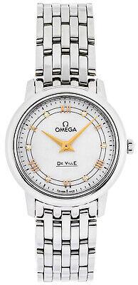 Omega De Ville Prestige White MOP Diamonds Dial Quartz Watch 424.10.27.60.55.001