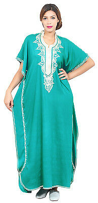 Moroccan Caftan Women kaftan Abaya Beach Cover Summer Long Dress Cotton Green