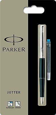 PARKER 15 BLACK & CHROME JOTTER FOUNTAIN PEN MEDIUM PT  NEW IN BOX