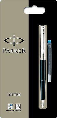 PARKER 15 BLACK & CHROME JOTTER FOUNTAIN PEN MEDIUM PT  NEW IN BOX