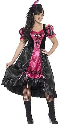 Ladies Curvy Saloon Girl Western Fancy Dress Costume Outfit Plus Size UK 16-30