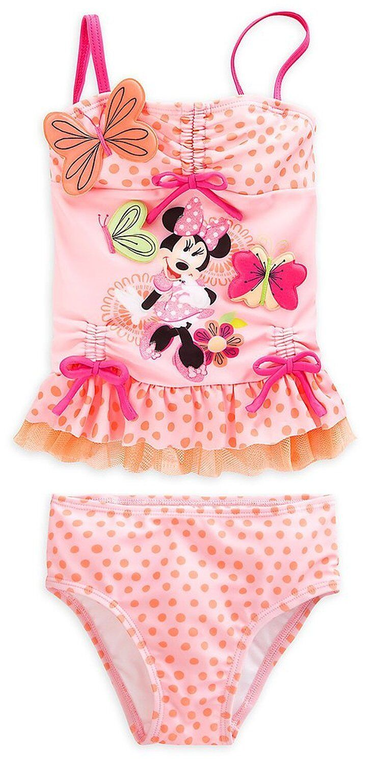 Disney Store Minnie Mouse 2pc Deluxe Polka Dot Swimsuit G...
