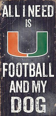 """MIAMI HURRICANES FOOTBALL and my DOG WOOD SIGN & ROPE 12"""" X 6""""  NCAA MAN CAVE!"""