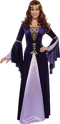 Guinevere Renaissance Gown Costume Rubies Purple Gold Tiara Standard size 8-12  - Purple Renaissance Costumes