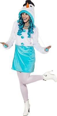 Damen Frosty Schneemann Weihnachten Kostüm Kleid Outfit 6-20 Übergröße ()