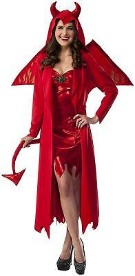 Gothic Temptress Devil Womens Adult Sexy Red Hooded Coat Dress Halloween - Devil Temptress Costume
