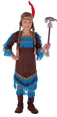 Indianer Königin - komplettes Indianerin Kostüm Mädchen braun-blau - 27782