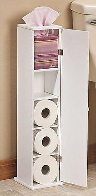 (Narrow Bathroom Storage Cabinet Toilet Paper Holder Tissue Slim Stand Door Wood)