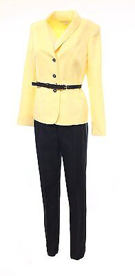 [16 81] NEW Tahari By ASL Black Women's Heringbone Pant Suit Set Yellow 16